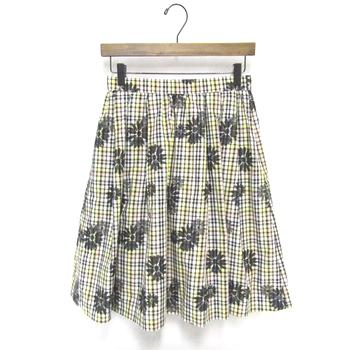 トッカ フラワー チェック スカート 花柄 イエロー
