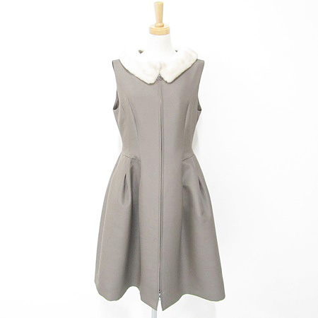 フォクシー 2017年 37826 ドレス ブロンズパフ ミンクファー襟付 ワンピース エスプレッソ(ブラウン系)