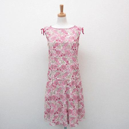 トッカ 2016年 OPTOLS0210 STRAW FLOWER ドレス 花柄 刺繍 ワンピース リボン ピンク