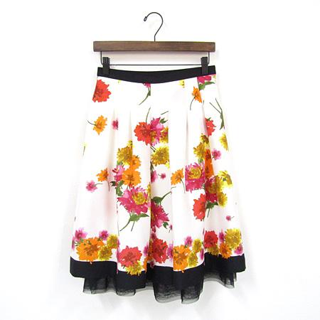 2019年WEB掲載品 M'SGRACY エムズグレイシー 花柄 スカート 裾チュール ホワイト 917103