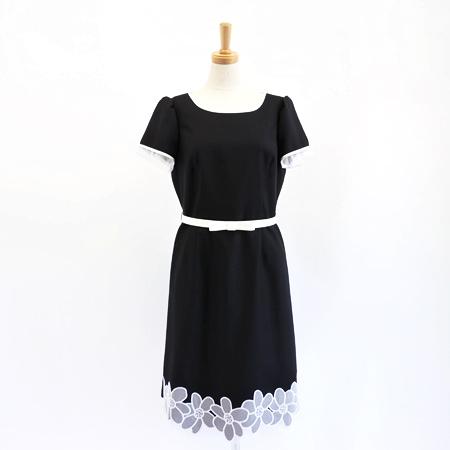 エムズグレイシー 2017年 ベルト付 裾お花 ワンピース ブラック