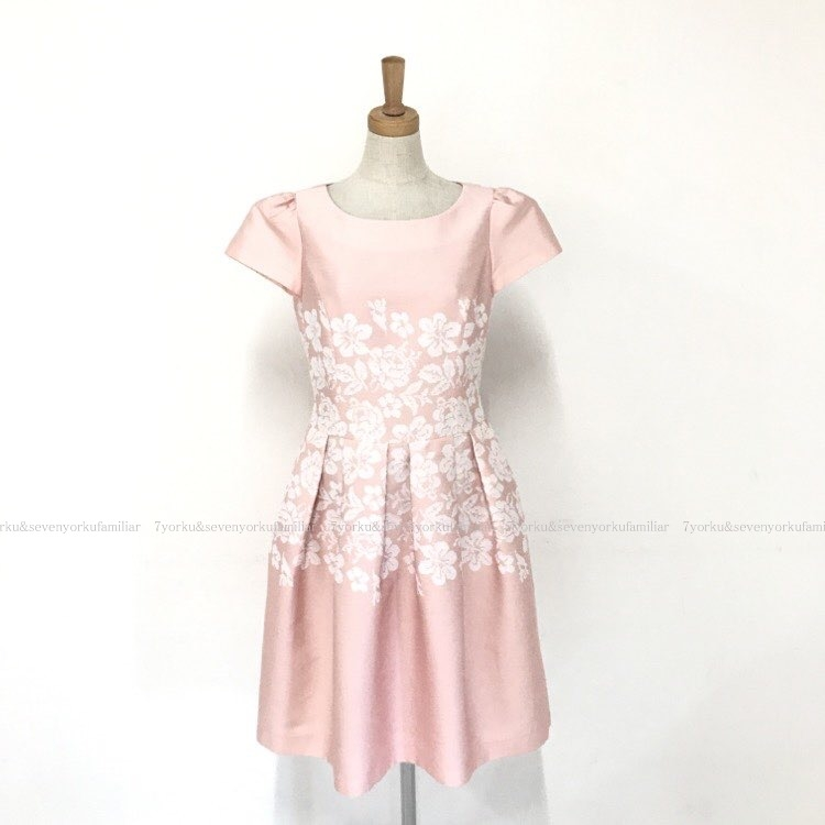 エムズグレイシー 2020年 フラワージャガード ワンピース ピンク ホワイト 011105
